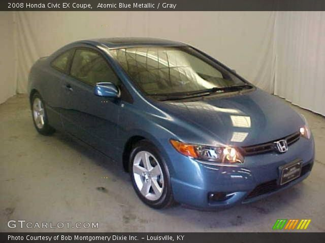 atomic blue metallic 2008 honda civic ex coupe gray interior vehicle. Black Bedroom Furniture Sets. Home Design Ideas