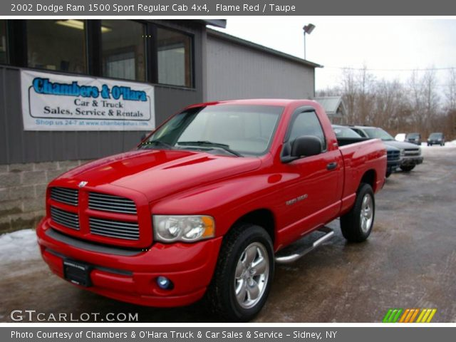 flame red 2002 dodge ram 1500 sport regular cab 4x4 taupe interior vehicle. Black Bedroom Furniture Sets. Home Design Ideas