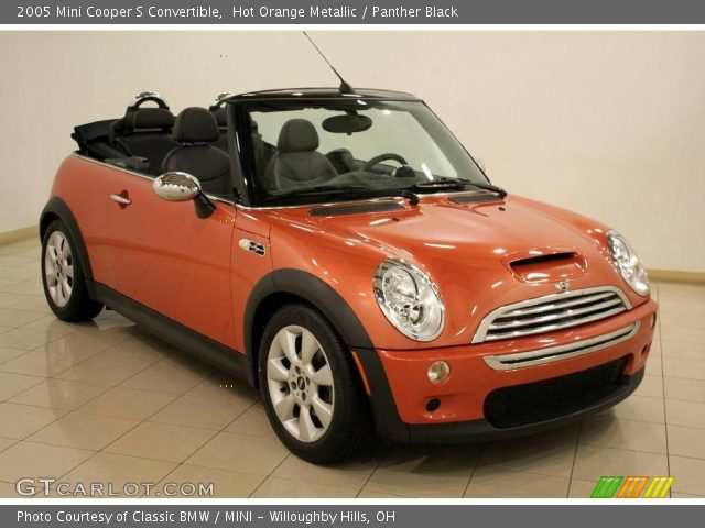hot orange metallic 2005 mini cooper s convertible panther black interior. Black Bedroom Furniture Sets. Home Design Ideas