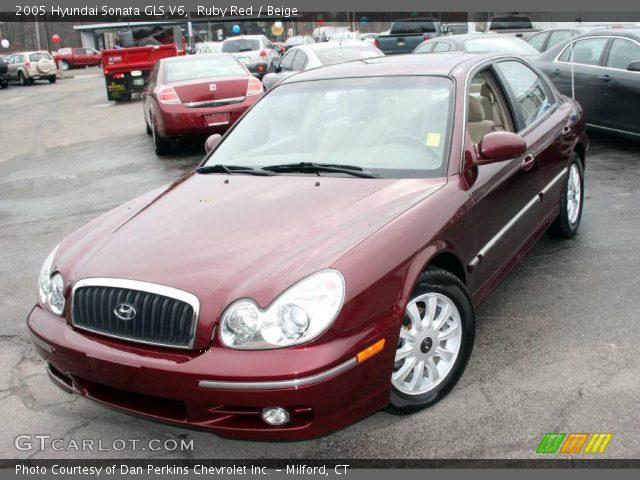 ruby red 2005 hyundai sonata gls v6 beige interior vehicle archive 24999590. Black Bedroom Furniture Sets. Home Design Ideas
