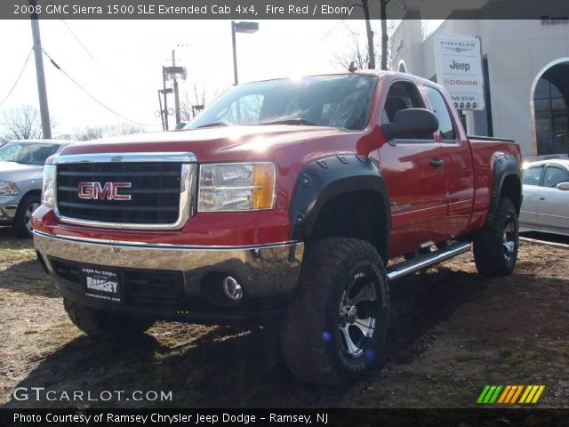 fire red 2008 gmc sierra 1500 sle extended cab 4x4 ebony interior vehicle. Black Bedroom Furniture Sets. Home Design Ideas