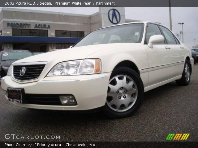 premium white pearl 2003 acura rl 3 5 sedan parchment. Black Bedroom Furniture Sets. Home Design Ideas
