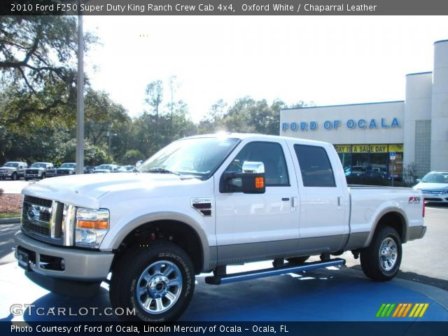 oxford white 2010 ford f250 super duty king ranch crew cab 4x4 chaparral leather interior. Black Bedroom Furniture Sets. Home Design Ideas