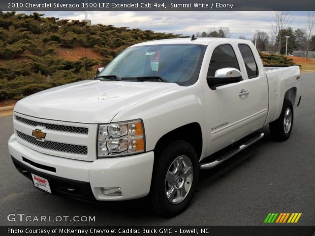 summit white 2010 chevrolet silverado 1500 ltz extended cab 4x4 ebony interior gtcarlot. Black Bedroom Furniture Sets. Home Design Ideas