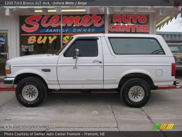 Oxford White 1996 Ford Bronco Xlt 4x4 Beige Interior Vehicle Archive 25300051