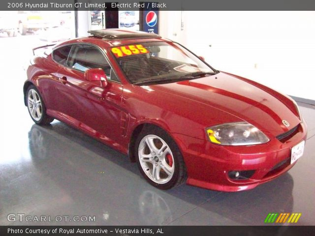 electric red 2006 hyundai tiburon gt limited black interior vehicle archive. Black Bedroom Furniture Sets. Home Design Ideas