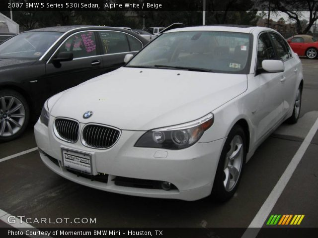 alpine white 2007 bmw 5 series 530i sedan beige interior vehicle archive. Black Bedroom Furniture Sets. Home Design Ideas