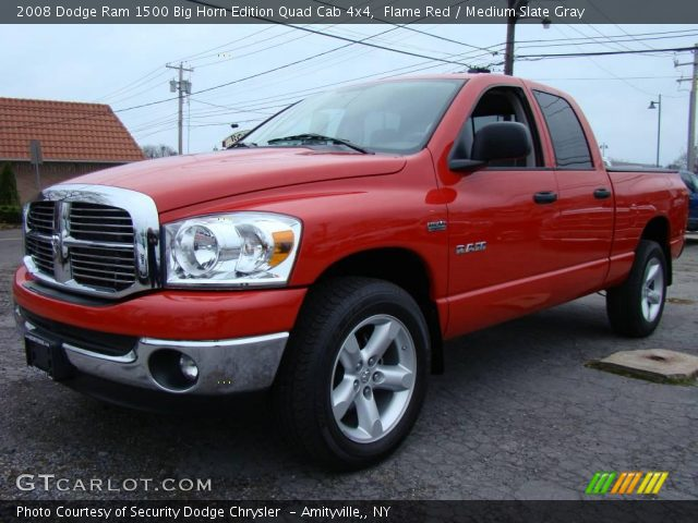 flame red 2008 dodge ram 1500 big horn edition quad cab 4x4 medium slate gray interior. Black Bedroom Furniture Sets. Home Design Ideas