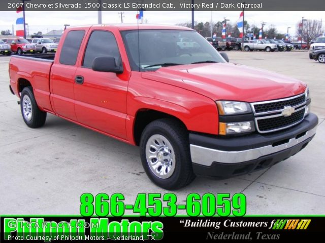 victory red 2007 chevrolet silverado 1500 classic ls extended cab dark charcoal interior. Black Bedroom Furniture Sets. Home Design Ideas