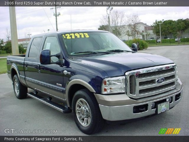 true blue metallic 2006 ford f250 super duty king ranch crew cab castano brown leather. Black Bedroom Furniture Sets. Home Design Ideas