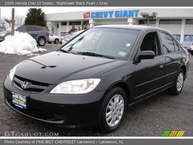nighthawk black pearl 2005 honda civic lx sedan gray interior vehicle. Black Bedroom Furniture Sets. Home Design Ideas