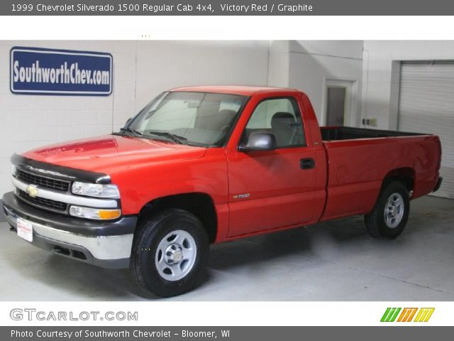 victory red 1999 chevrolet silverado 1500 regular cab 4x4 graphite interior. Black Bedroom Furniture Sets. Home Design Ideas