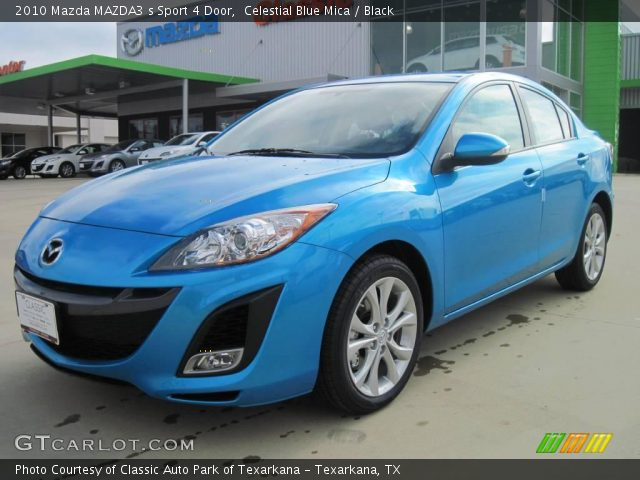 celestial blue mica 2010 mazda mazda3 s sport 4 door black interior vehicle. Black Bedroom Furniture Sets. Home Design Ideas