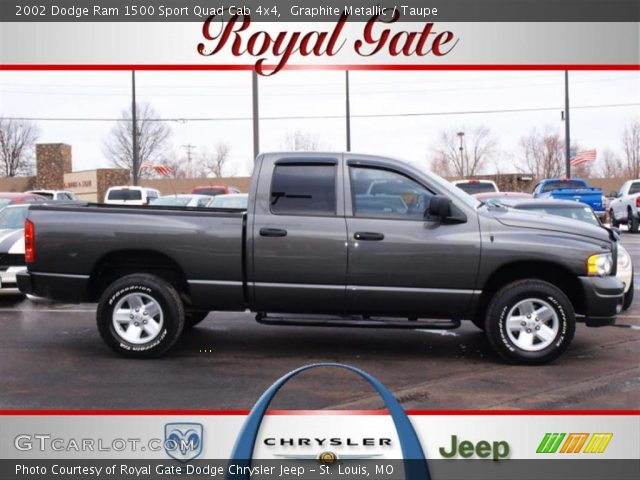 graphite metallic 2002 dodge ram 1500 sport quad cab 4x4 taupe interior. Black Bedroom Furniture Sets. Home Design Ideas
