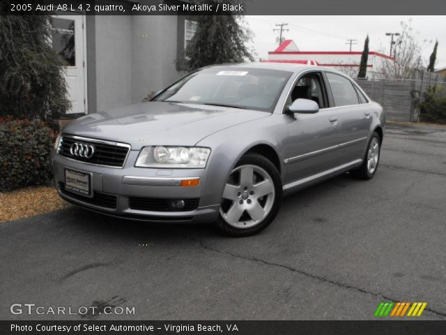 akoya silver metallic 2005 audi a8 l 4 2 quattro black interior vehicle. Black Bedroom Furniture Sets. Home Design Ideas