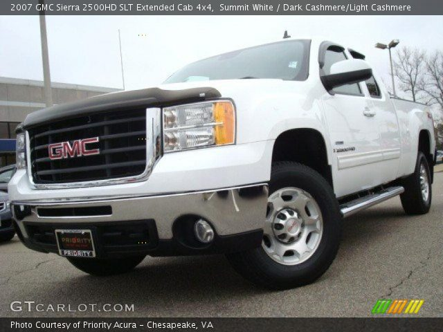 summit white 2007 gmc sierra 2500hd slt extended cab 4x4. Black Bedroom Furniture Sets. Home Design Ideas