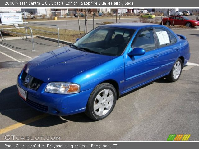 sapphire blue metallic 2006 nissan sentra 1 8 s special edition sage interior. Black Bedroom Furniture Sets. Home Design Ideas