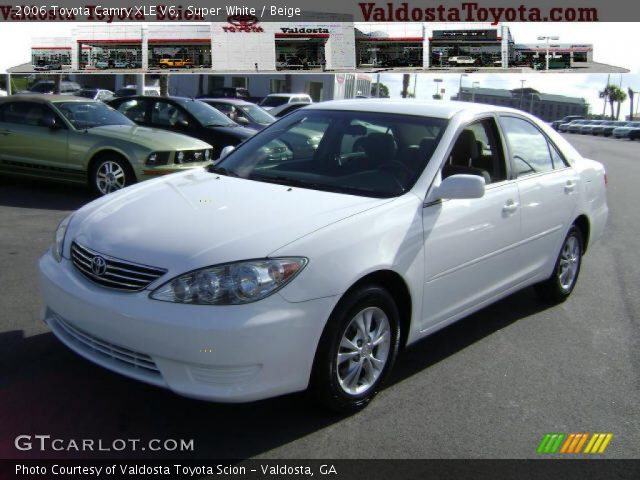 super white 2006 toyota camry xle v6 beige interior vehi. Black Bedroom Furniture Sets. Home Design Ideas
