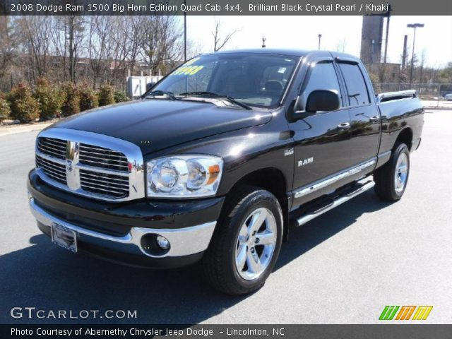 brilliant black crystal pearl 2008 dodge ram 1500 big horn edition quad cab 4x4 khaki. Black Bedroom Furniture Sets. Home Design Ideas