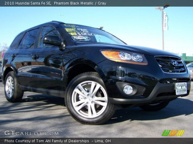 phantom black metallic 2010 hyundai santa fe se gray interior vehicle. Black Bedroom Furniture Sets. Home Design Ideas
