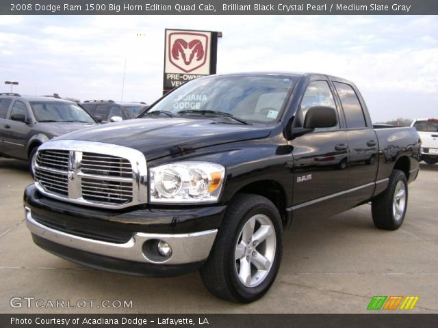 brilliant black crystal pearl 2008 dodge ram 1500 big horn edition quad cab medium slate. Black Bedroom Furniture Sets. Home Design Ideas