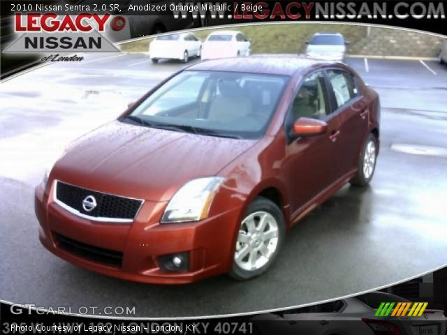anodized orange metallic 2010 nissan sentra 2 0 sr beige interior vehicle. Black Bedroom Furniture Sets. Home Design Ideas