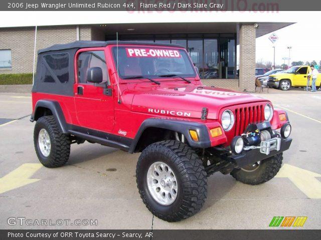 flame red 2006 jeep wrangler unlimited rubicon 4x4 dark slate gray interior. Black Bedroom Furniture Sets. Home Design Ideas