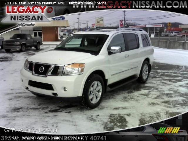 Blizzard White 2010 Nissan Armada Platinum 4WD with Stone interior 2010