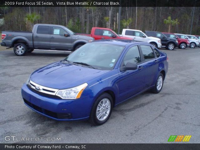 Vista Blue Metallic 2009 Ford Focus Se Sedan Charcoal Black Interior
