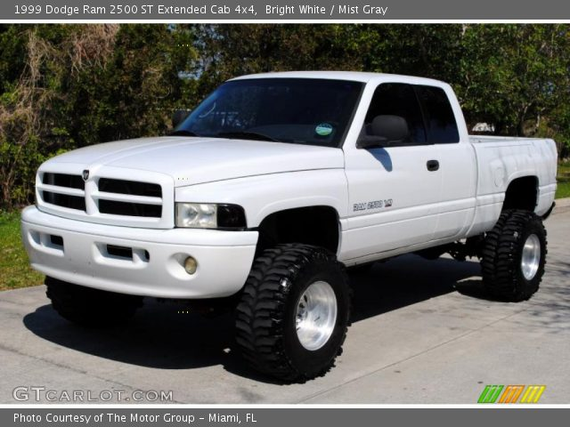 Bright White 1999 Dodge Ram 2500 St Extended Cab 4x4 Mist Gray Interior