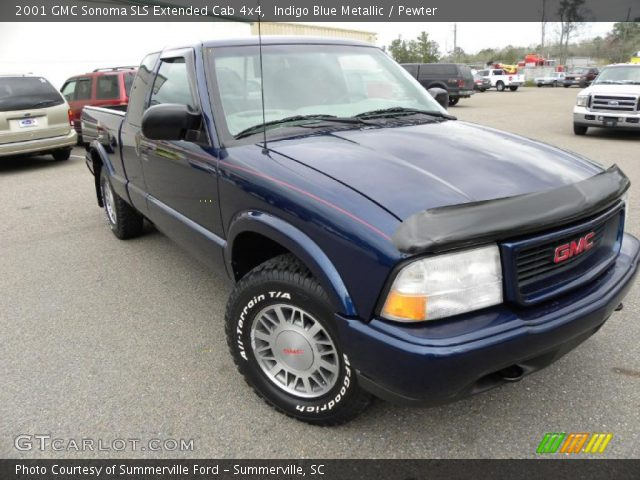 indigo blue metallic 2001 gmc sonoma sls extended cab 4x4 pewter interior. Black Bedroom Furniture Sets. Home Design Ideas