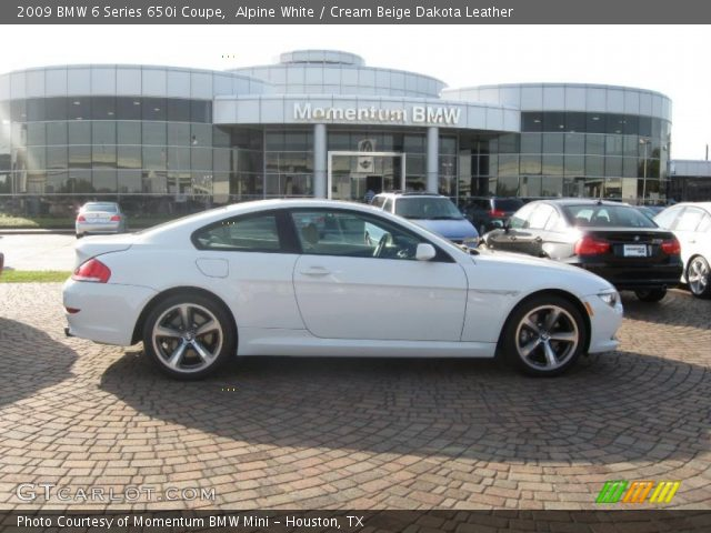 alpine white 2009 bmw 6 series 650i coupe cream beige. Black Bedroom Furniture Sets. Home Design Ideas