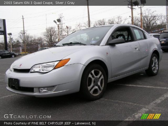 Silver 2003 Saturn Ion 3 Quad Coupe Gray Interior Gtcarlot