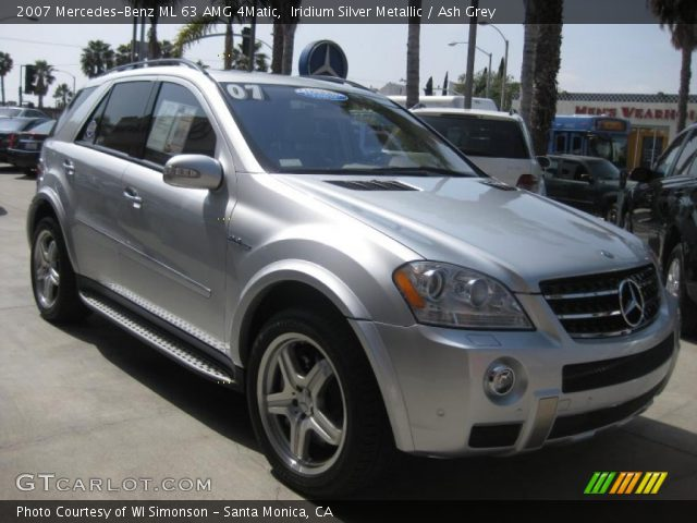 iridium silver metallic 2007 mercedes benz ml 63 amg 4matic ash grey interior. Black Bedroom Furniture Sets. Home Design Ideas