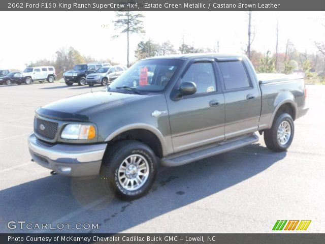estate green metallic 2002 ford f150 king ranch supercrew 4x4 castano brown leather interior. Black Bedroom Furniture Sets. Home Design Ideas