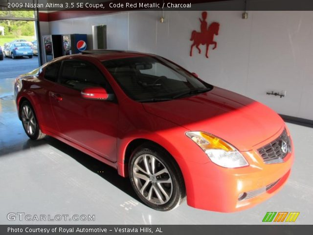 code red metallic 2009 nissan altima 3 5 se coupe charcoal interior vehicle. Black Bedroom Furniture Sets. Home Design Ideas
