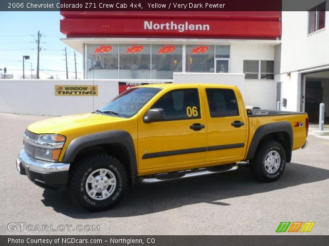 yellow 2006 chevrolet colorado z71 crew cab 4x4 very dark pewter interior. Black Bedroom Furniture Sets. Home Design Ideas