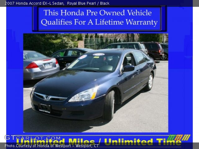 royal blue pearl 2007 honda accord ex l sedan black interior vehicle. Black Bedroom Furniture Sets. Home Design Ideas