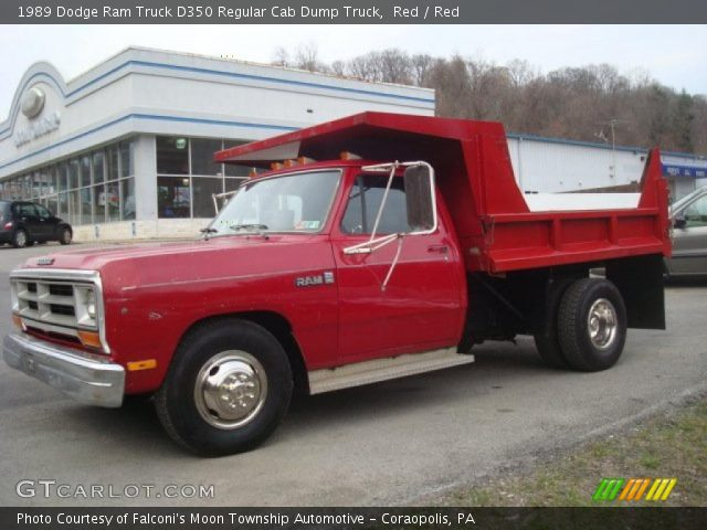 Red 1989 Dodge Ram Truck D350 Regular Cab Dump Truck Red
