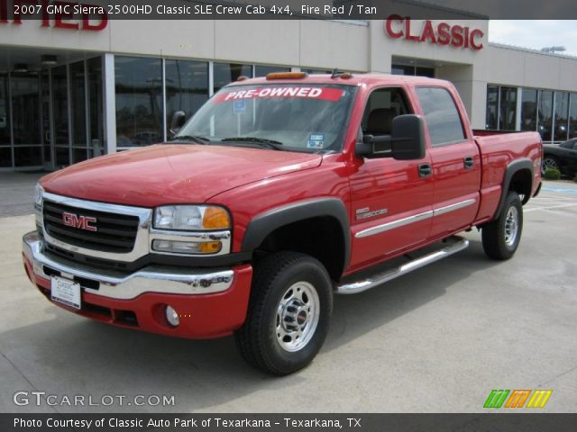 fire red 2007 gmc sierra 2500hd classic sle crew cab 4x4 tan interior. Black Bedroom Furniture Sets. Home Design Ideas