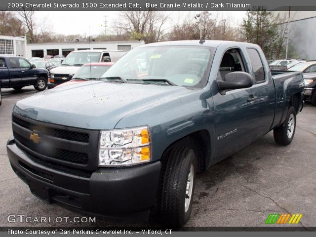 blue granite metallic 2009 chevrolet silverado 1500 extended cab dark titanium interior. Black Bedroom Furniture Sets. Home Design Ideas