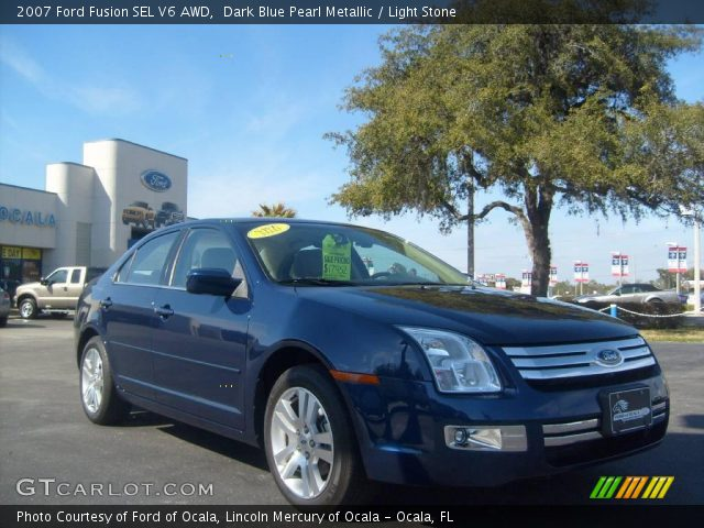 dark blue pearl metallic 2007 ford fusion sel v6 awd light stone interior. Black Bedroom Furniture Sets. Home Design Ideas