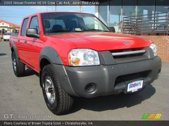 aztec red 2003 nissan frontier xe v6 crew cab 4x4 gray. Black Bedroom Furniture Sets. Home Design Ideas