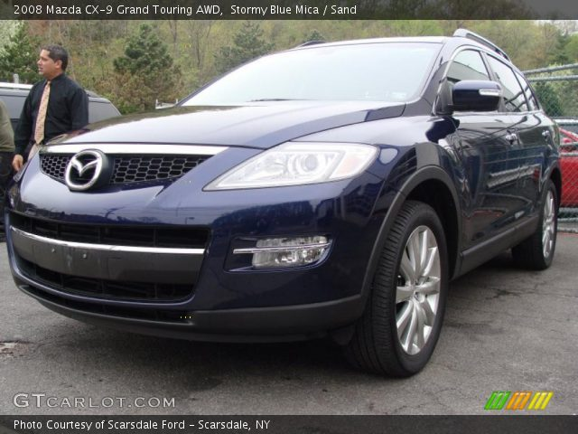 stormy blue mica 2008 mazda cx 9 grand touring awd sand interior vehicle. Black Bedroom Furniture Sets. Home Design Ideas