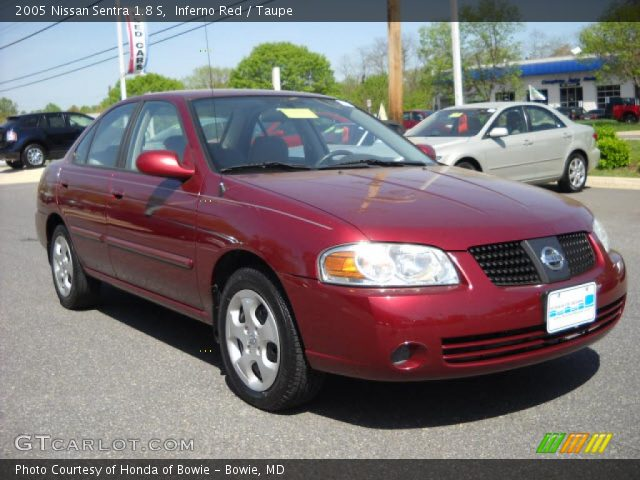 inferno red 2005 nissan sentra 1 8 s taupe interior. Black Bedroom Furniture Sets. Home Design Ideas