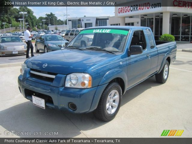 electric blue metallic 2004 nissan frontier xe king cab gray interior. Black Bedroom Furniture Sets. Home Design Ideas