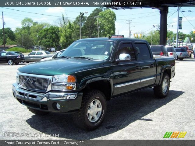 polo green metallic 2006 gmc sierra 1500 slt z71 crew cab 4x4 neutral interior gtcarlot. Black Bedroom Furniture Sets. Home Design Ideas