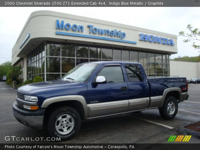 indigo blue metallic 2000 chevrolet silverado 1500 z71 extended cab 4x4 graphite interior. Black Bedroom Furniture Sets. Home Design Ideas