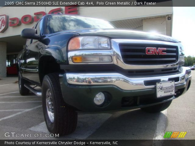 polo green metallic 2005 gmc sierra 2500hd sle extended cab 4x4 dark pewter interior. Black Bedroom Furniture Sets. Home Design Ideas
