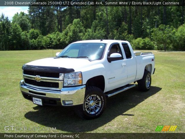 summit white 2008 chevrolet silverado 2500hd ltz extended cab 4x4 ebony black light cashmere. Black Bedroom Furniture Sets. Home Design Ideas